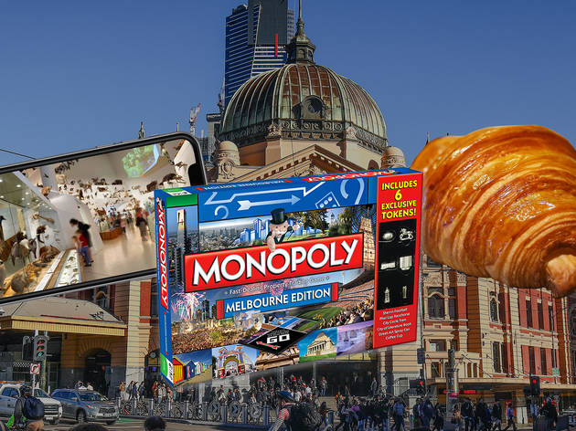 Photo of Flinders St Station with a croissant, smartphone and Melbourne monopoly laid over it