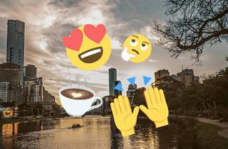 Emojis over image of Melbourne skyline