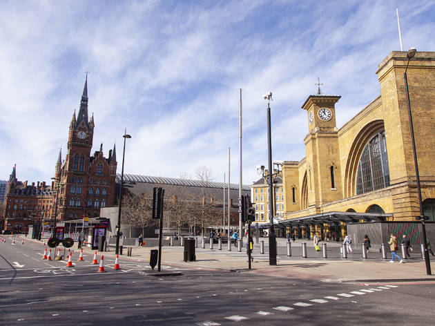 Empty King's Cross during London lockdown