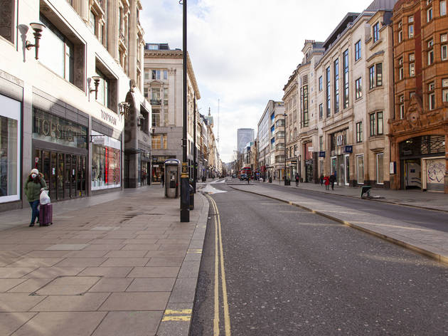 empty oxford street during London lockdown