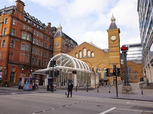 Empty Liverpool Street Station during London lockdown
