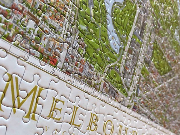 Close up of The Melbourne Map jigsaw puzzle