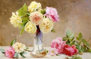 A still life painting of roses in a glass jar