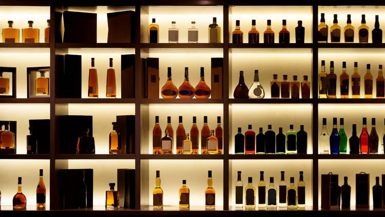 Whisky bar, whisky bottles