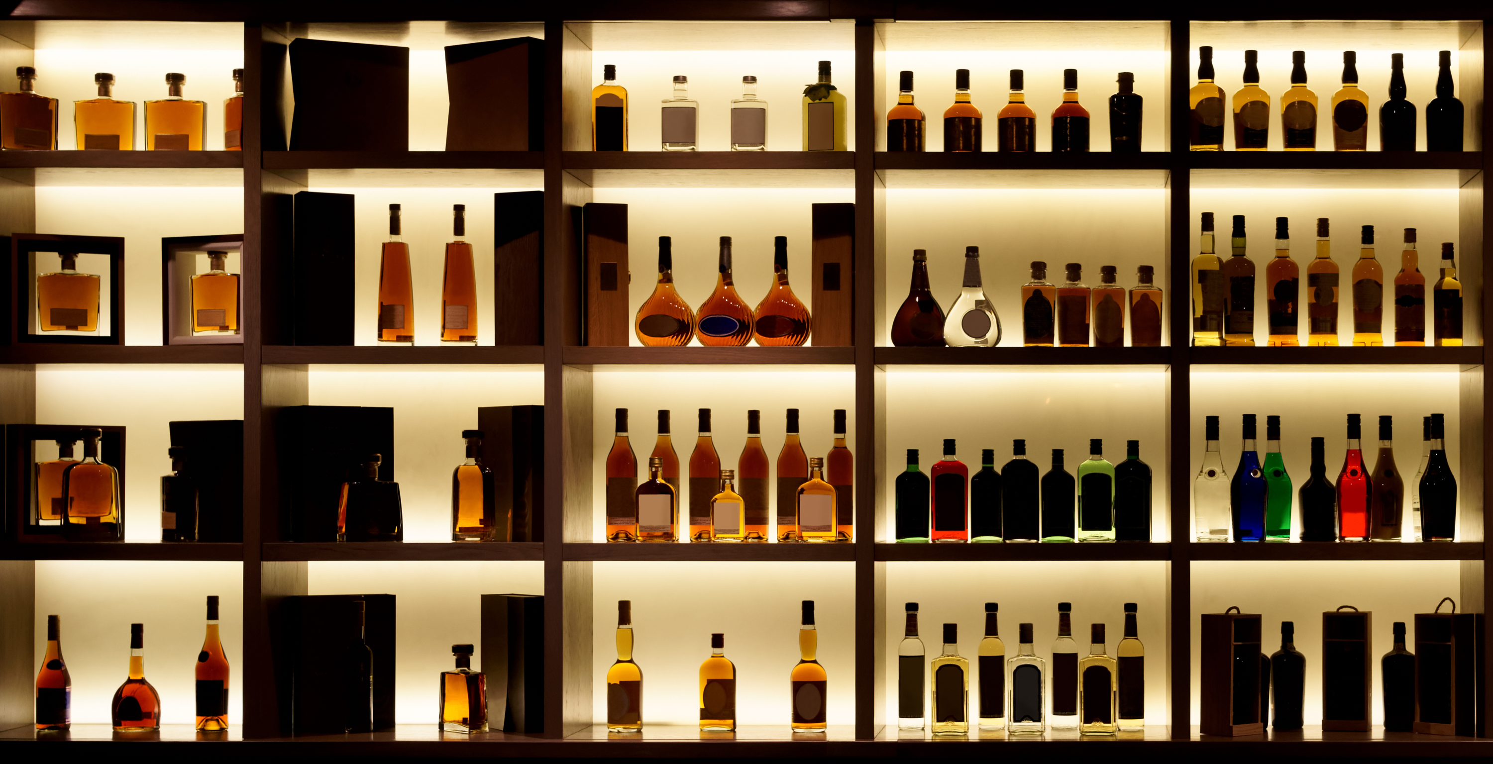 Whisky bar, whisky bottles
