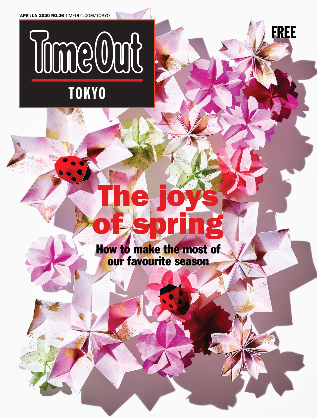 Time Out Tokyo magazine  issue 26 cover, cherry blossoms, origami