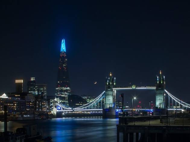 the view from the shard turns NHS blue