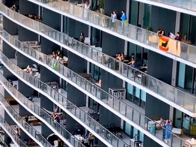 People in Miami are throwing all kinds of balcony parties and the videos are incredible