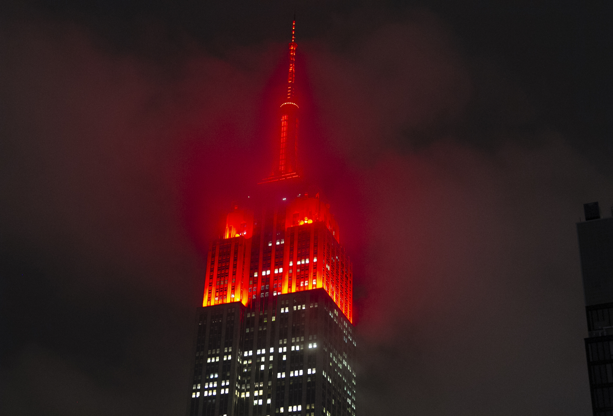 NYC landmarks will light up red tonight in a show of solidarity for the city