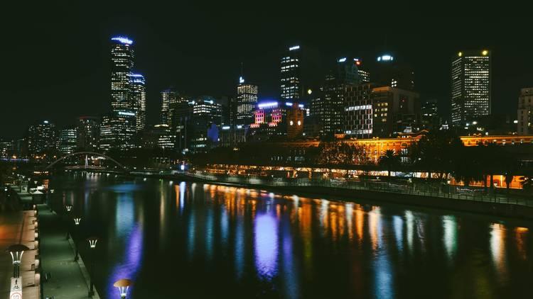 Melbourne Yarra River skyline at night
