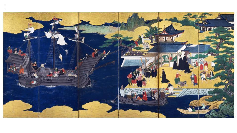 重要文化財 南蛮屛風 伝 狩野山楽  六曲一双のうち右隻 桃山時代 17世紀初期 サントリー美術館