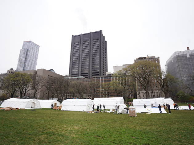 Central Park is now the site of an emergency field hospital