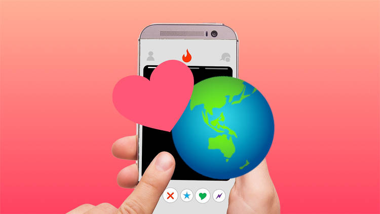 Phone with heart and globe