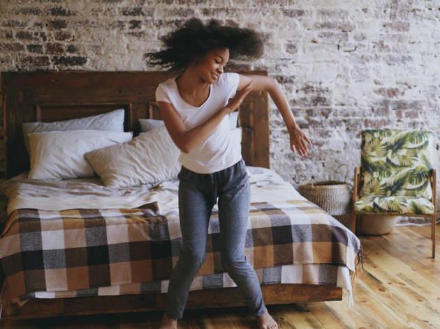dancing alone in bedroom