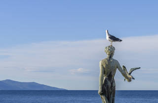 A seagull perches on Opatija's Maiden with the Seagull statue