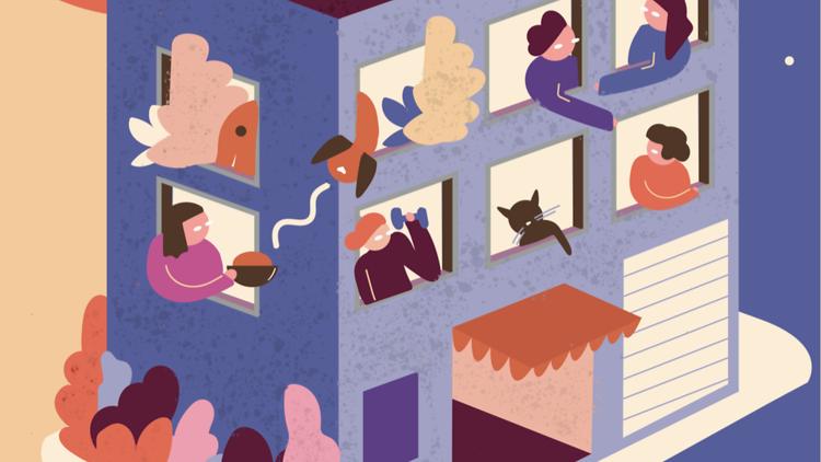 Ilustración de personas dentro de un edificio por la cuarentena