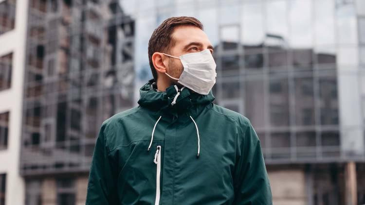 shutterstock, mask, surgical mask, coronavirus, man in mask, man, outside