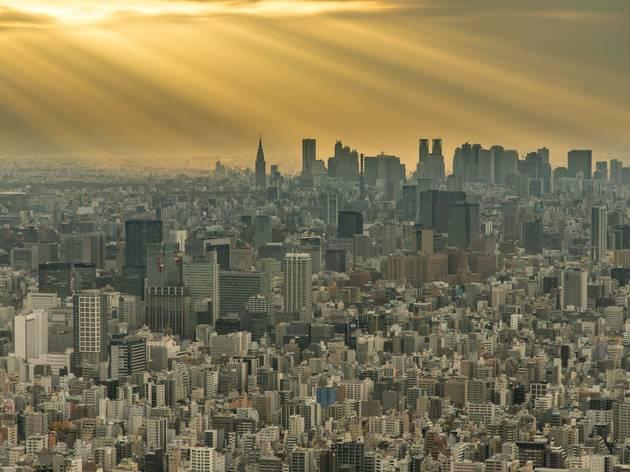 Tokyo cityscape sun