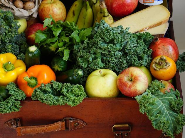 A suitcase is overflowing with fresh fruit and vegetables.