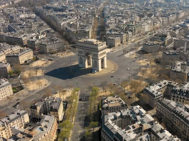 Watch: A drone filmed Paris's empty streets from above