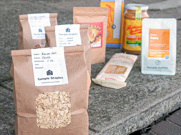 Bags of granola and other groceries from Sample Staples