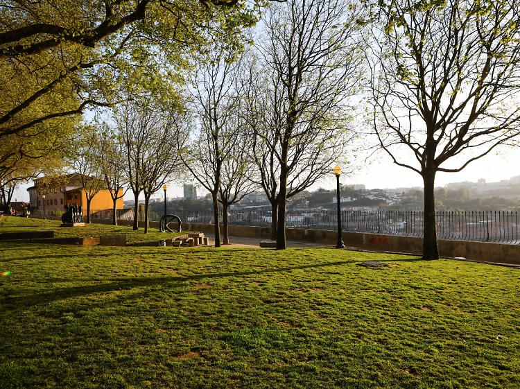 Veja o pôr-do-sol deitado na relva do Jardim do Passeio das Virtudes