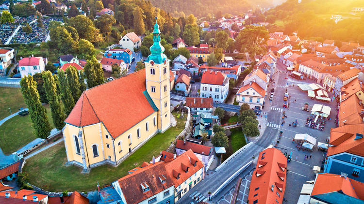 Town of Samobor square aerial burning sunset view