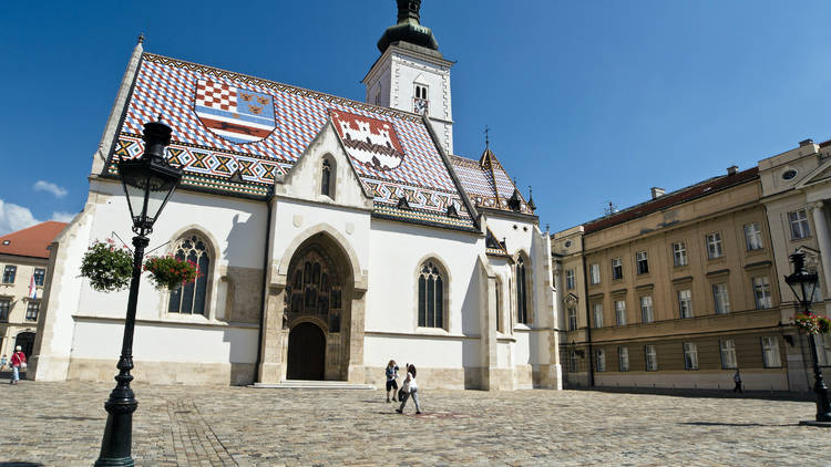 Saint Mark's square in Zagreb is home to the namesake church, which dates back to the 13th century, and surrounding Croatian Parliament buildings