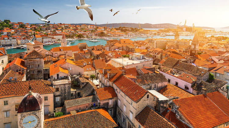 View at town Trogir, old touristic place in Croatia Europe with