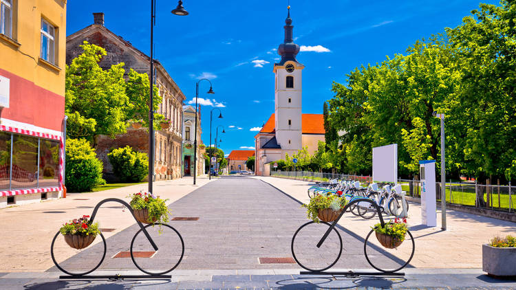 Town of bicycles Koprivnica street view
