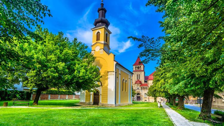 Square of Ivan Mažuranić and the church of St. Sava northern Croatia's Križevci town