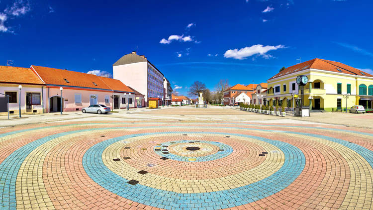 Town of Ludbreg square panoramic view