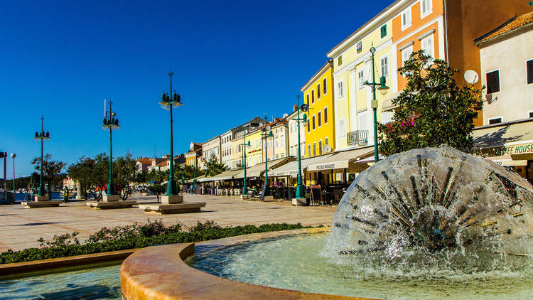 Lošinj island's town of Mali ('Little') Lošinj features a seafront main square and sphere water fountain