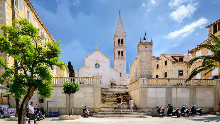 Church of Saint Peter or Crkva sv. Petra in Supetar town on Brac Island near Split, Croatia.