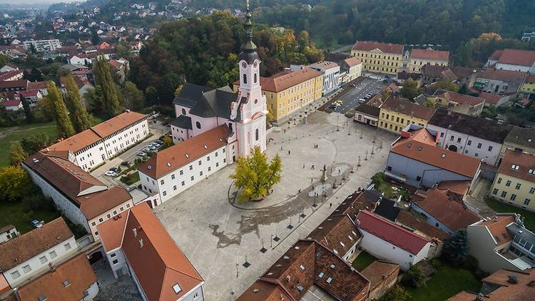 The Slavonian town of Požega's St. Theresa of Avila (the area's patron saint) square and namesake church from above