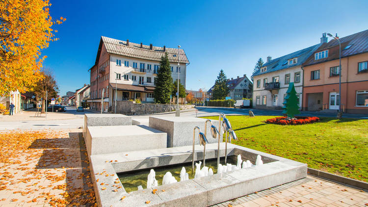 The Gorski Kotar town of Delnice has a pretty central square at the intersection of its Lujzinska and Supilova streets