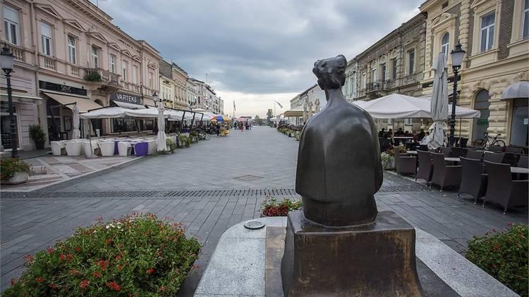 Slavonski Brod's Ivana Brlić Mažuranić square and statue, honouring one of Croatia's most famous writers