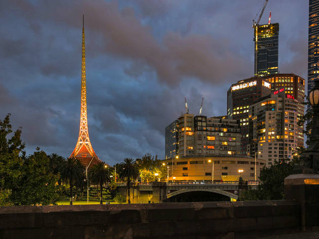 Arts Centre Melbourne's spire has been lit yellow as a sign of hope