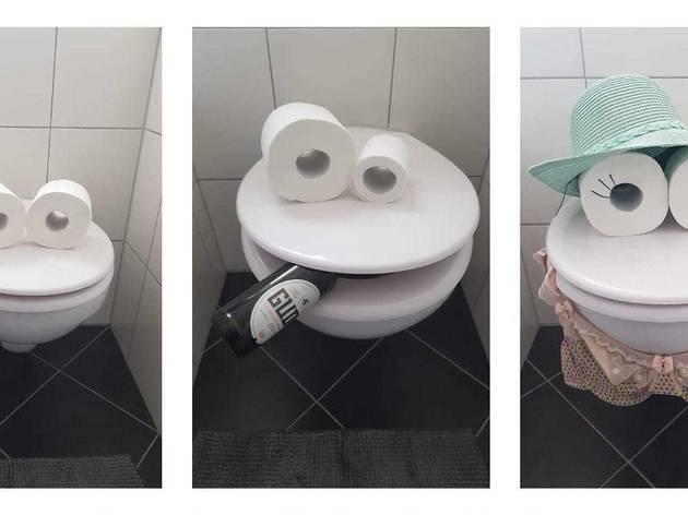 toilet paper art, in quarantine