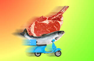 steak and fish on a motorbike