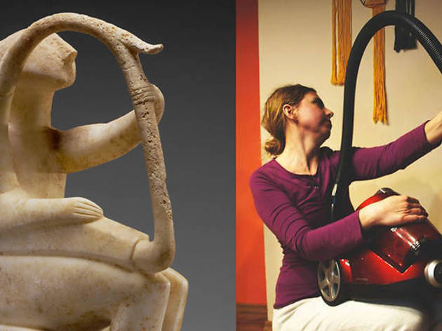 Photograph: Courtesy the Getty Male Harp Player of the Early Spedos Type, 2700–2300 B.C., Cycladic. Marble, 14 ⅛ x 11 1/16 in. The J. Paul Getty Museum, 85.AA.103. Recreation via Facebook DM by Irena Ochódzka with canister vacuum