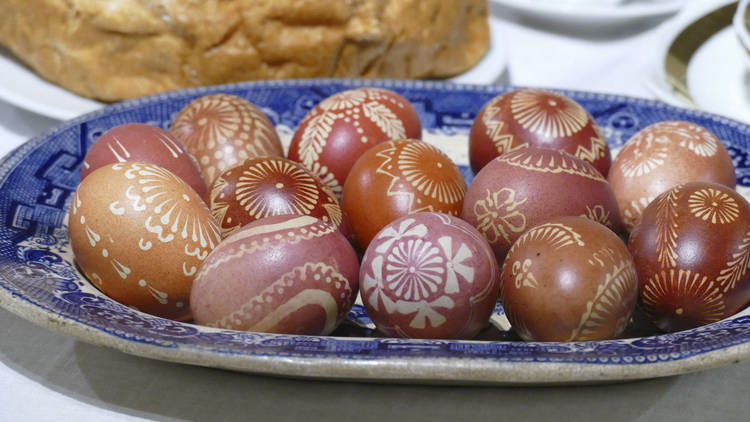 Batik pattern eggs in Easter display