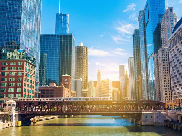 shutterstock, chicago, chicago skyline, downtown, downtown chicago, chicago river, bridge, loop, the loop, cityscape, skyline view