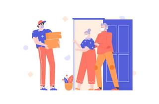 Ilustración de persona entregando un servicio a domicilio