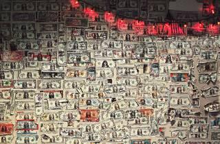 dollar bills, $1 bills, dollars, bar, dive bar, dollar wall, dollars on wall, shutterstock