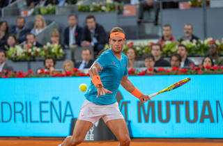 Rafael Nadal plays tennis at the Madrid Open 2019