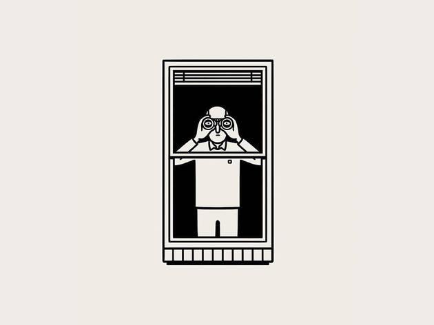 illustration of a man at the window holding binoculars