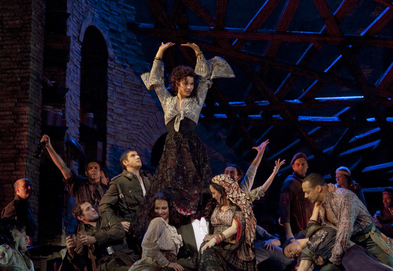 """A scene from Act II of Bizet's """"Carmen"""" with Elina Garanca (center) in the title role"""