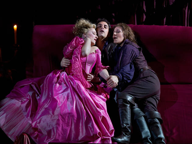 """Diana Damrau as Countess Adèle, Joyce DiDonato as Isolier, and Juan Diego Flórez as Count Ory in Rossini's """"Le Comte Ory.""""Photo: Marty Sohl/Metropolitan OperaTaken during the rehearsal at the Metropolitan Opera in New York City on March 17, 2011"""
