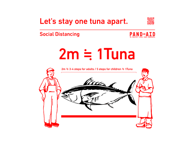Images showing how to measure social distancing using tuna